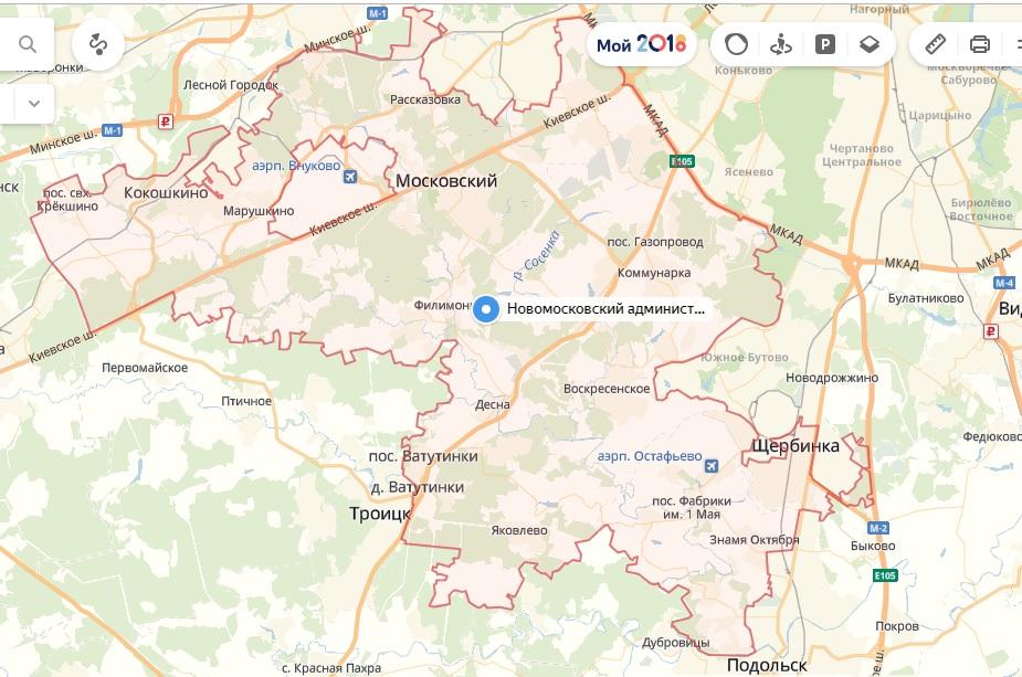 Новая Москва на карте, Новомосковский АО