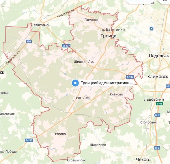 Продажа квартир в Троицке, Новая Москва на карте