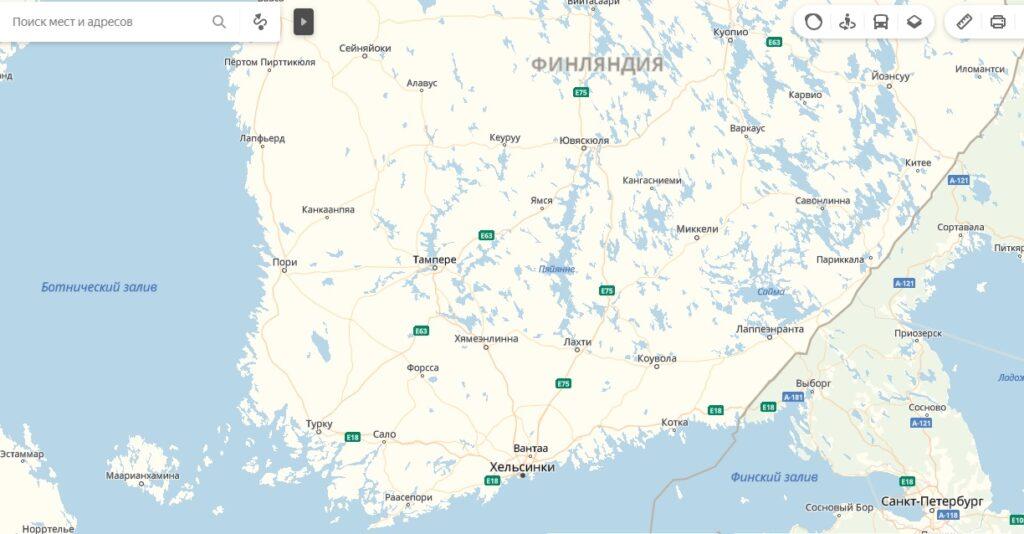 Карта Финляндии: южная и юго-восточная части