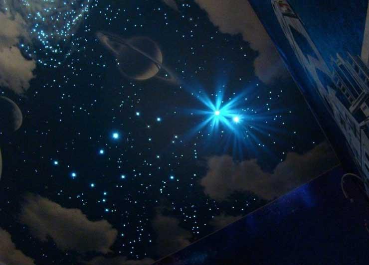 """Натяжной потолок """"звёздное небо"""" - цена за 1 м2 с установкой, стоимость работ"""